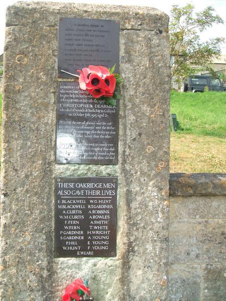 Detail of brass panel on war memorial, Oakridge.