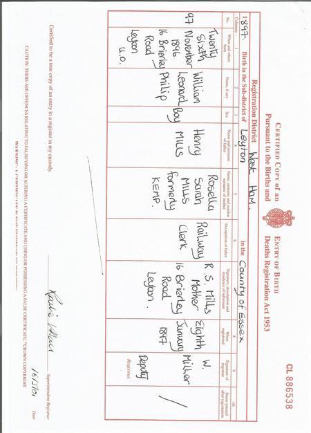 Wiliiam Mills Birth Certificate