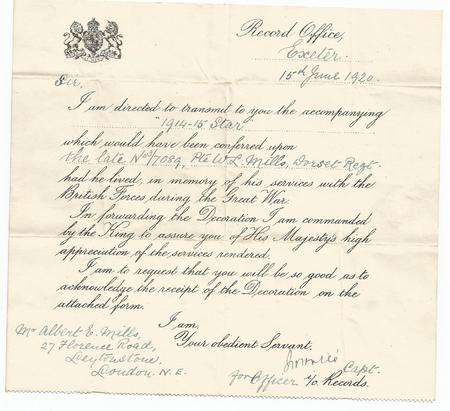 Letter accompanying William's 1914/5 Star