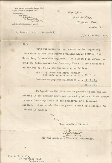 War Office letter to next of kin