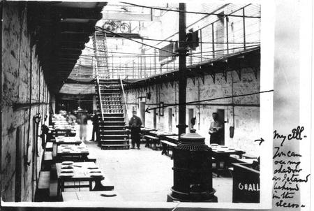 One of Claughton's prison cells 1916-18