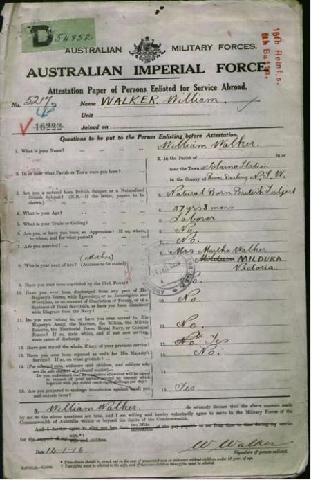William Walker Attestation Papers