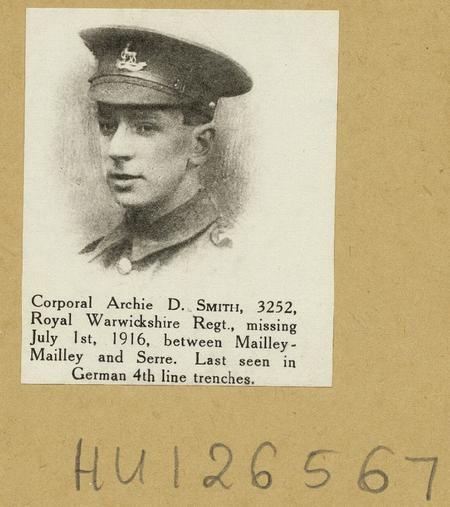Corporal Archie D. Smith, 3252, Royal Warwickshire