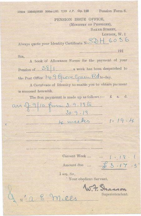 Letter showing arrears of Pension