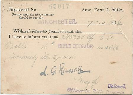 Postcard from Winchester Rifle Brigade Records