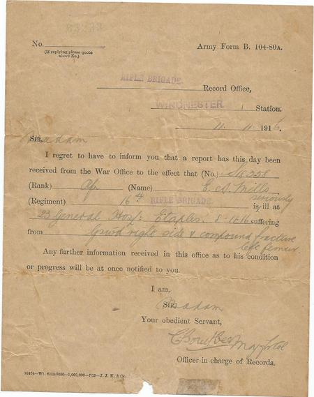 Letter from The Rifle Brigade Record Office
