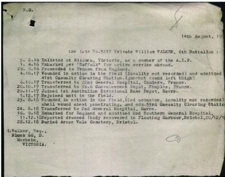 William Walker service record