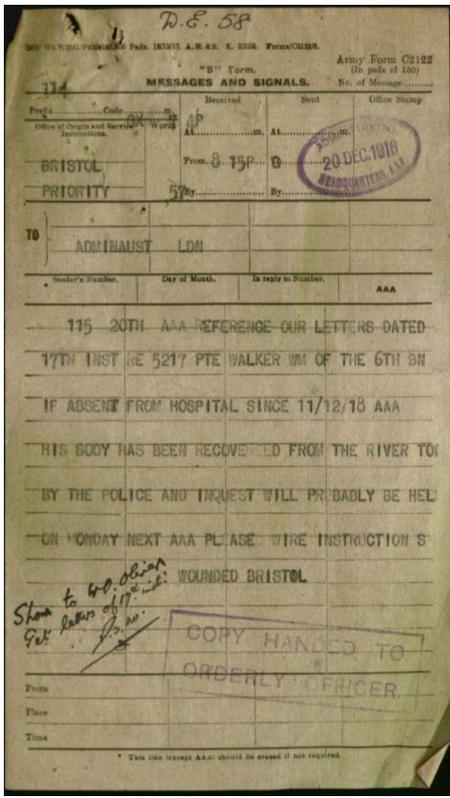 William Walker telegram