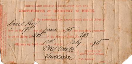 Cyril Ruff Birth Certificate