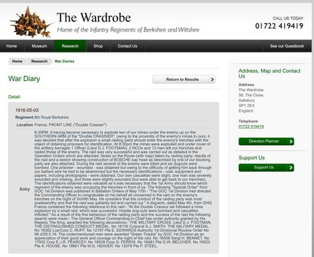 Copy of Citation from The Wardrobe website
