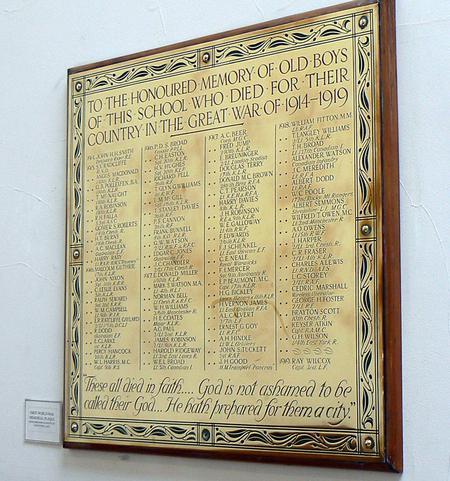 Roll of Honour for Birkenhead Institute