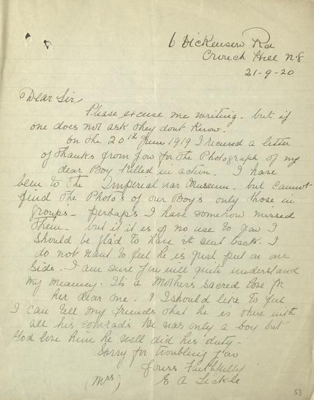 Letter to IWM