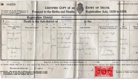 Death Cerificate Cyrils Mother