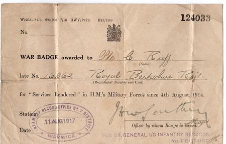 War Badge Certificate 124033