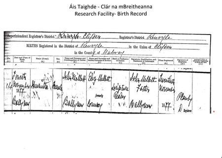 Birth Certificate of Henrietta Mellett