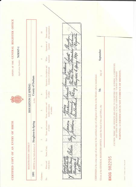 Colin Jackson birth certificate 28 Sep 1891