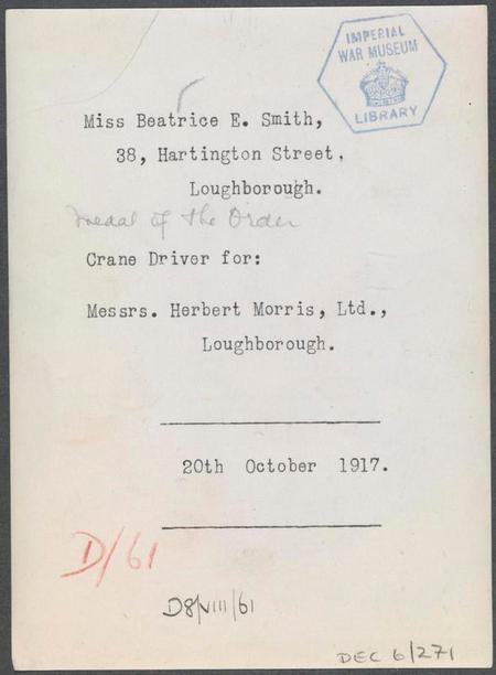 Reverse of Beatrice Smith photo