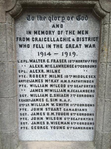 Craigellachie War Memorial - Close-Up