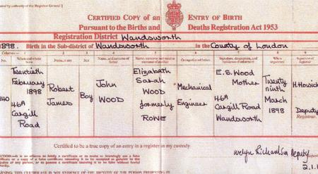 Robert J Wood Birth Certificate
