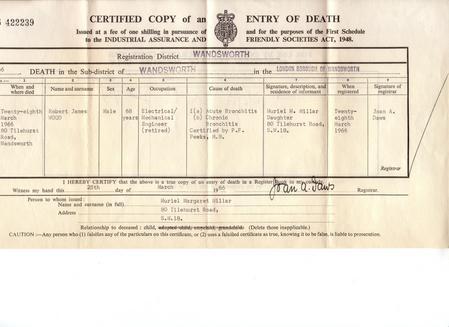 Robert J Wood Death Certificate