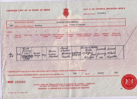 E.G Shepherd Birth Certificate