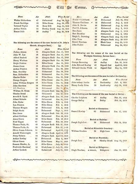 Memorial Service leaflet