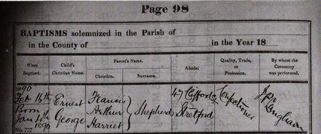 Scanned copy of Baptism record