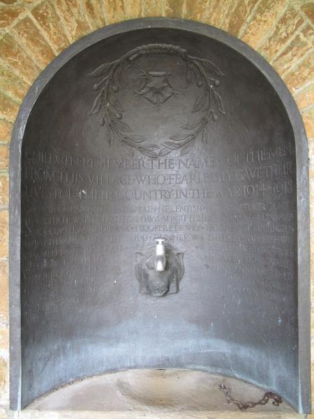 Panel of WW1 names in Blackmoor Memorial Cloisters