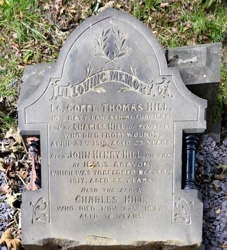 Thomas Hill's gravestone at Stottercliffe cemetery
