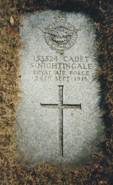 The grave marker of Cadet Nightingale