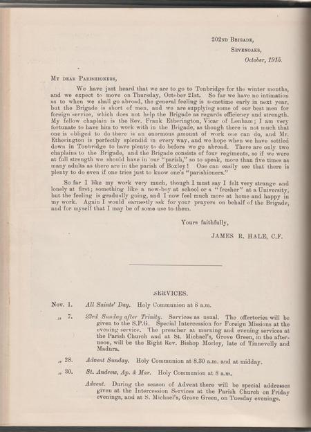 Letter from James 202 Brigade Sevenoaks Oct 1915
