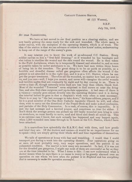 Letter from James 46 1/1 Wessex Casualty CS