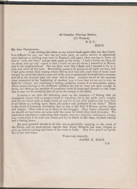 Letter from James 46 Casualty C S 1/1 Wessex BEF