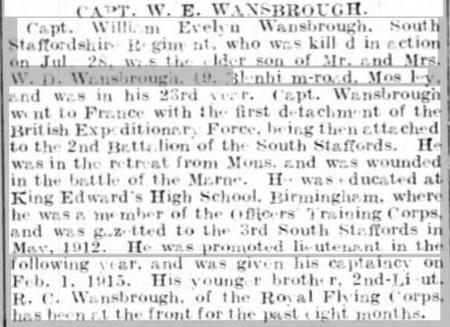 Capt W E Wansbrough