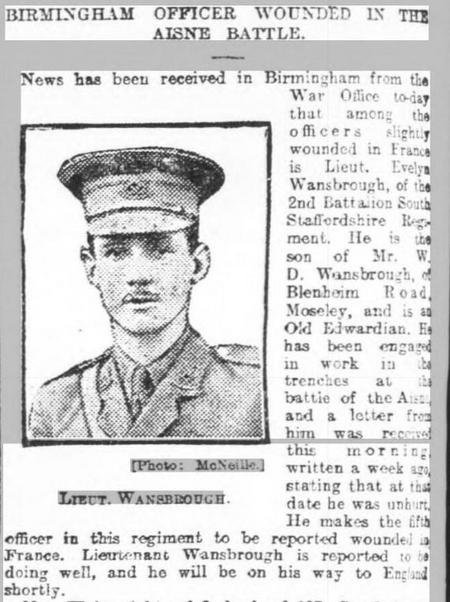 Birmingham Officer wounded at the Aisne Battle