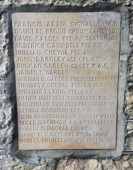 Dyke War Memorial, Morayshire  - Name Plate