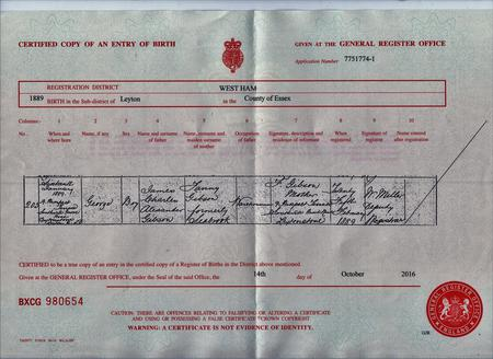 Certified Copy of an entry of Birth