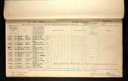 WWI Service Medal & Awards Roll, pc. 1358 RH