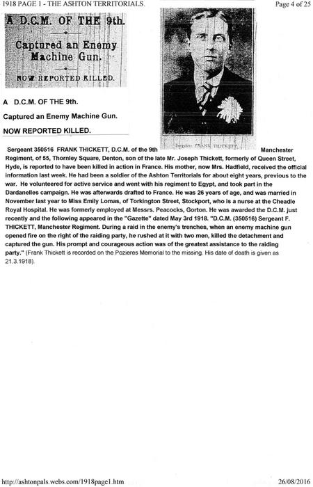 Frank Thickett        Death  Announcement.