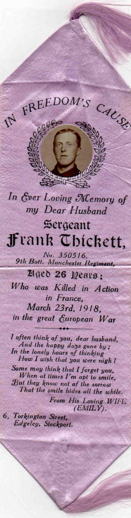 Frank Thickett D.C.M.    Memorial Ribbon  !918