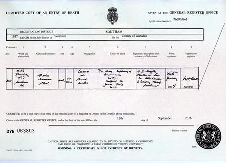 Charles Norman Cleal Death Certificate
