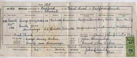 George marriasge Certificate 1913