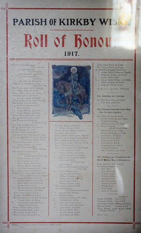 Roll of Honour from Kirby Wiske Church.
