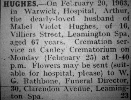 Notice of Arthur's Death