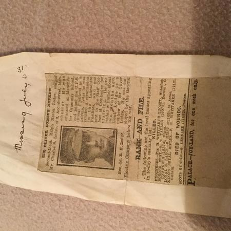 Newspaper announcement of Ralph Lodge's Death