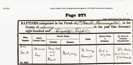 Baptism Record of Bernard Law Montgomery