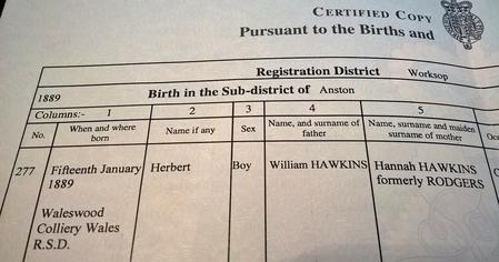 Herbert Hawkins birth date