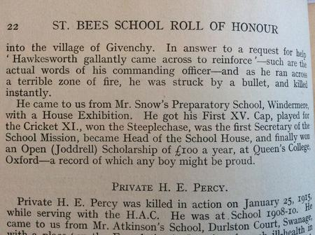 St Bees School Roll of Honour Book