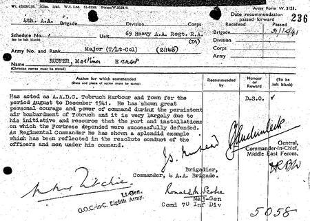 Mortimer Ernest Ruffer's DSO Citation