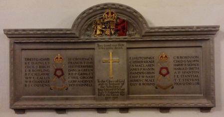 War memorial featuring him